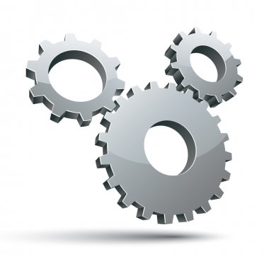 3 gears 3d vector icon.