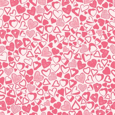 Romantic pink hearts background, different hearts seamless patte