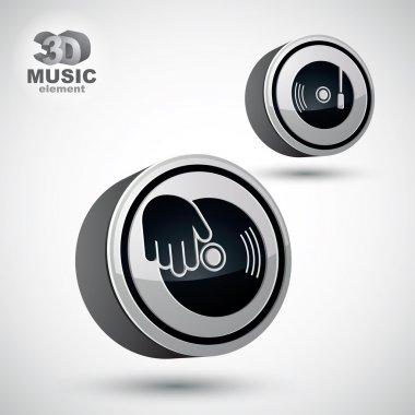 Vinyl with DJ hand vector icon isolated, 3d vector design elemen