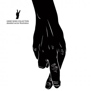 Cheater hand with crossed fingers, detailed black and white vector illustration. clip art vector