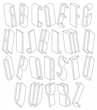 Black and white 3d font made with thin lines.