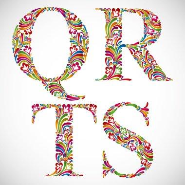 Ornate alphabet letters Q R S T.