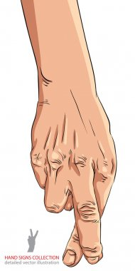 Cheater hand with crossed fingers, detailed vector illustration. clip art vector