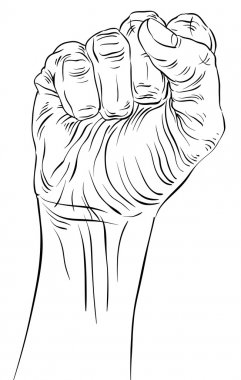 Clenched fist held high in protest hand sign, detailed black and white lines vector illustration, hand drawn. clip art vector