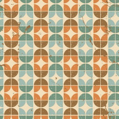 Old tiles seamless background, vector retro style pattern.