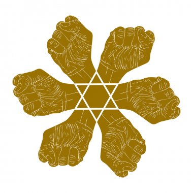 Six fists abstract symbol with hexagonal star, single color vect