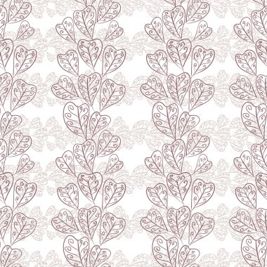 Seamless fall leaves pattern, floral wallpaper, hand drawn, vect