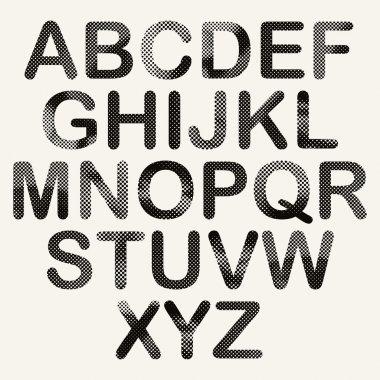 Halftone dots font, pixels print texture letters, vector alphabet. stock vector
