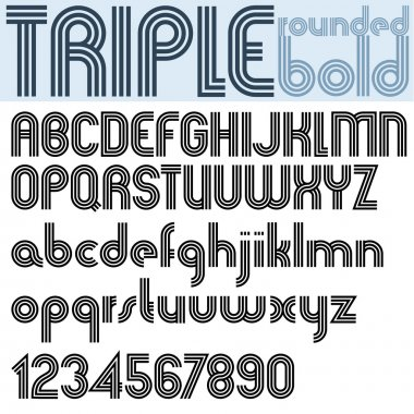 Retro triple line rounded bold font.