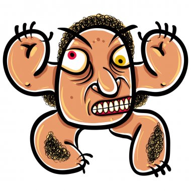 Wierd cartoon monster, absolute crazy numskull portrait, well, t