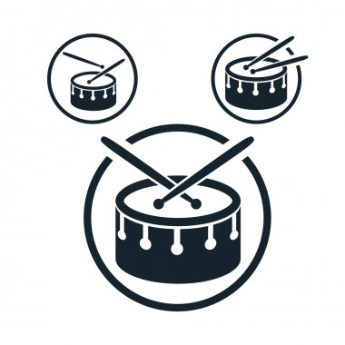 Snare drum icon, single color vector music theme symbol for your
