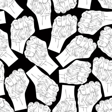 Clenched fists seamless pattern, black and white vector backgrou