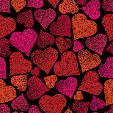 Love theme seamless background, hearts seamless pattern, vector,