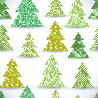 Christmass tree seamless pattern, hand drawn lines textures used