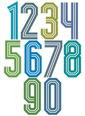 Retro stripe geometric numbers.