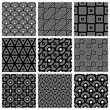 Black and white geometric seamless patterns set, vector backgrou