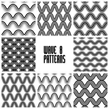 Waves black and white seamless patterns set, geometric vector ba