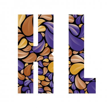 Beautiful floral alphabet, letters K and L.