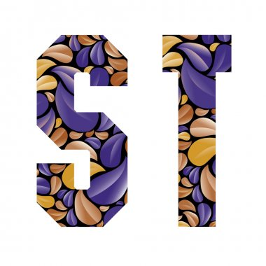 Beautiful floral alphabet, letters S and T.