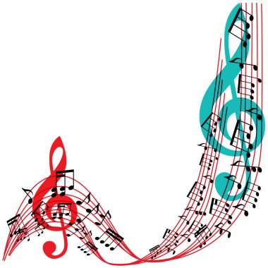 Music notes background, stylish musical theme frame, vector illu