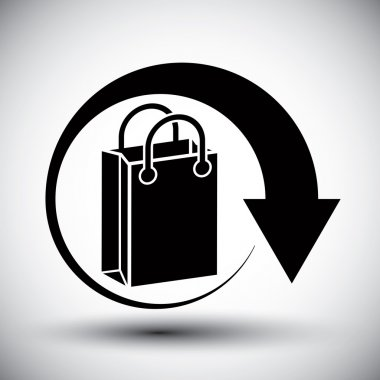 Shopping bag delivery vector simple single color icon.