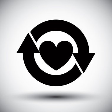 Heart surrounded by arrows vector simple single color icon.