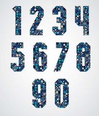 Geometric numbers decorated with blue pixel texture.