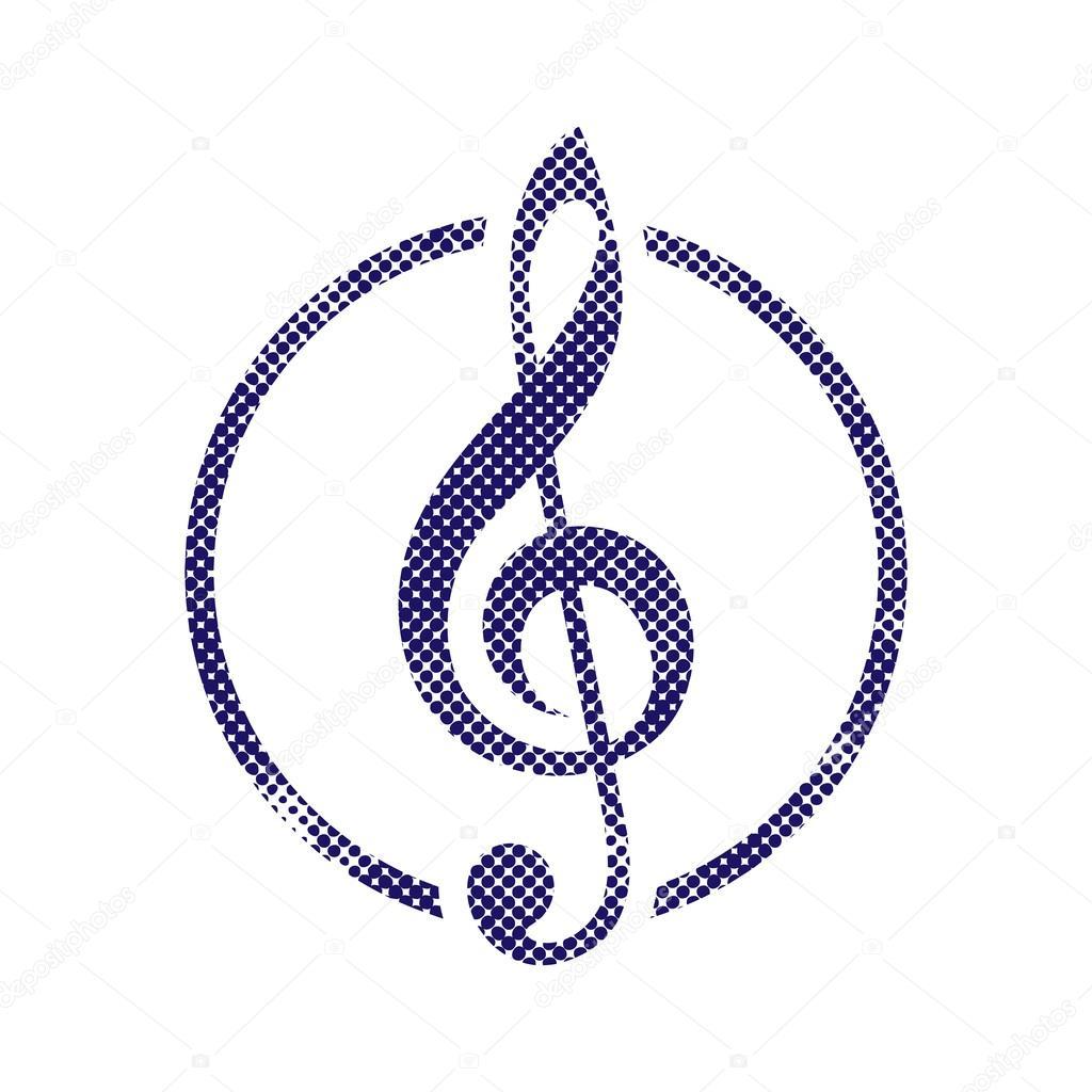 Icona Chiave Di Violino Con Mezzetinte Puntini Stampa Texture