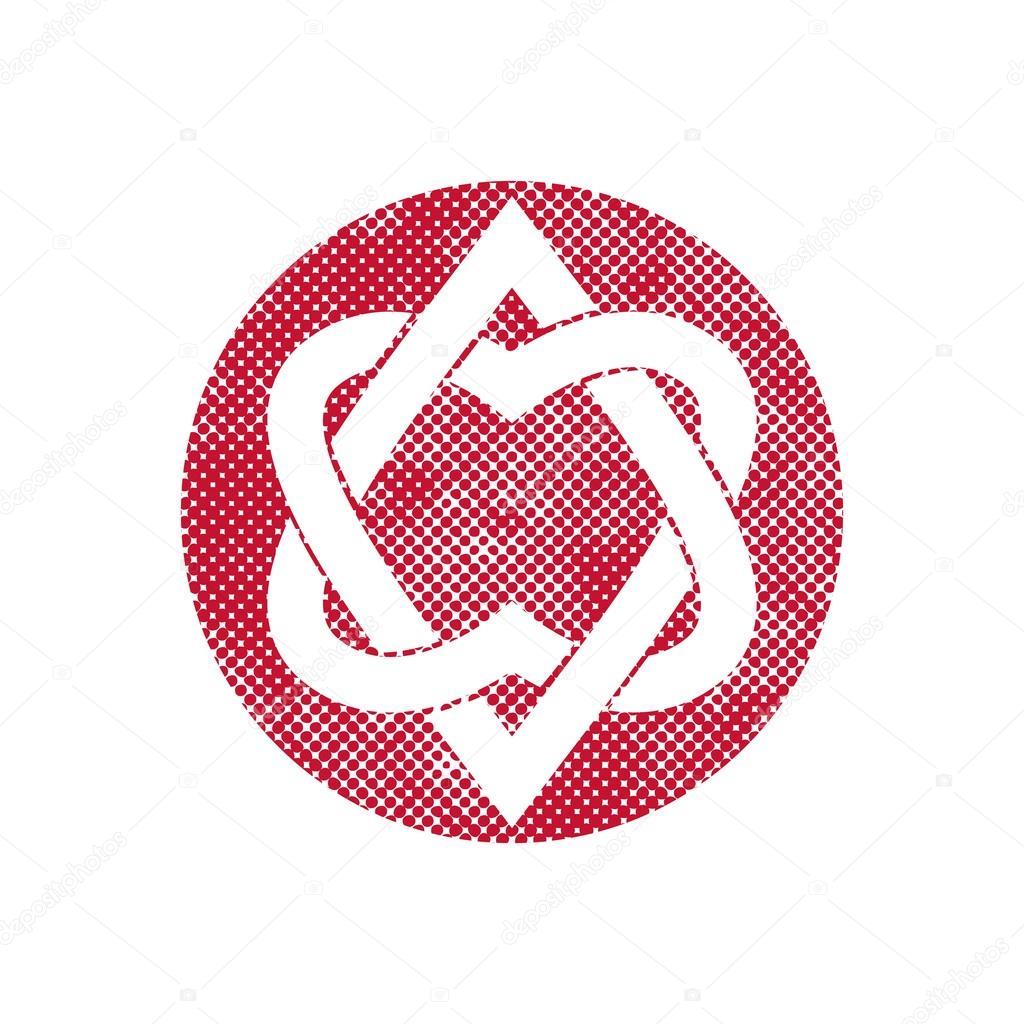 Deux Coeurs Symbole De Vecteur Lié Avec Pixel Imprimer Demi