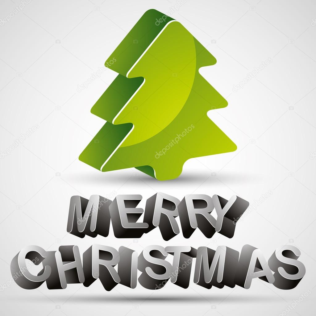 Christmas Greetings Card With 3d Letters And Christmas Tree Stock