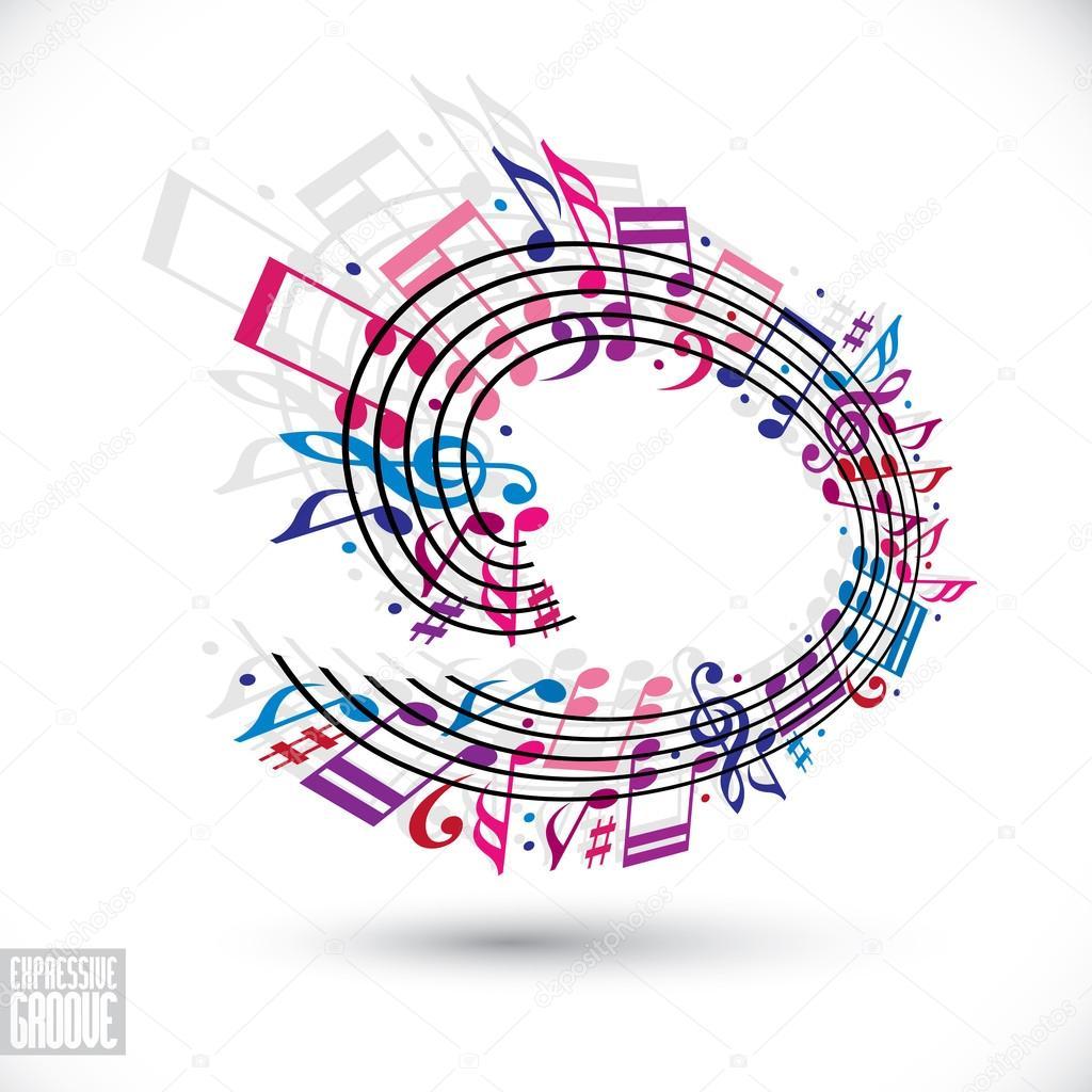Fondo de música rosa y violeta con clave y notas — Vector de stock ...