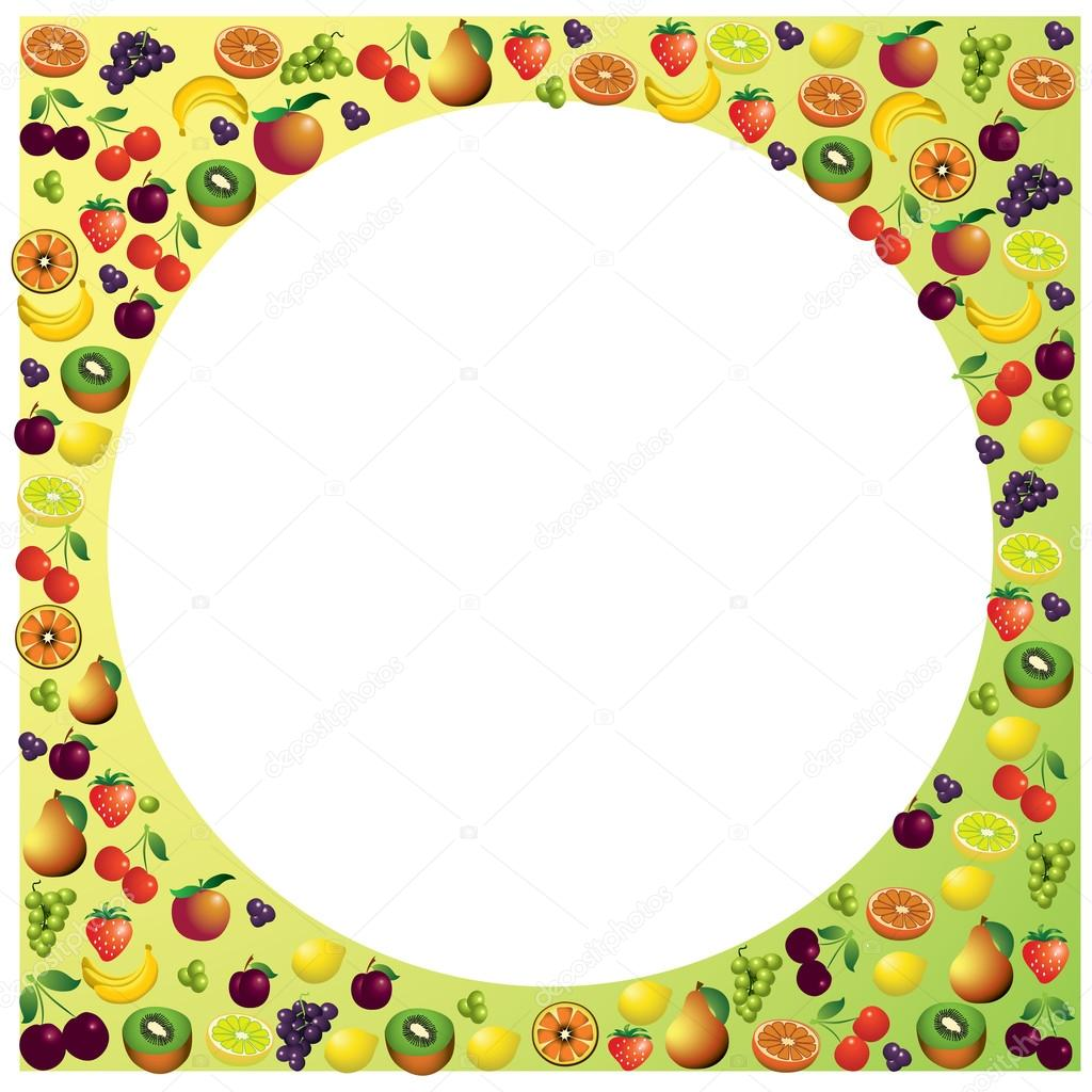 Früchte-Rahmen aus mit verschiedenen Früchten, gesunde Ernährung ...