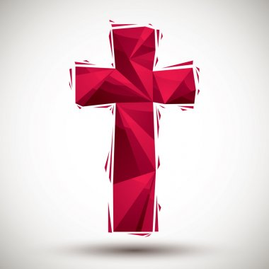 Red cross geometric icon made in 3d modern style, best for use a