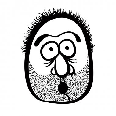 Funny cartoon face with stubble, black and white lines vector il