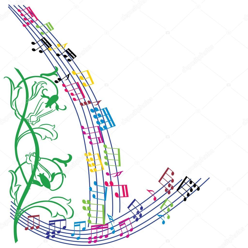 Fondo de notas de la música, marco elegante tema musical, vector ...