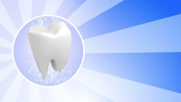 Zahn in blauem Hintergrund drehen