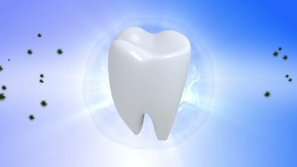 Zahn. Zahn in blauem Hintergrund drehen