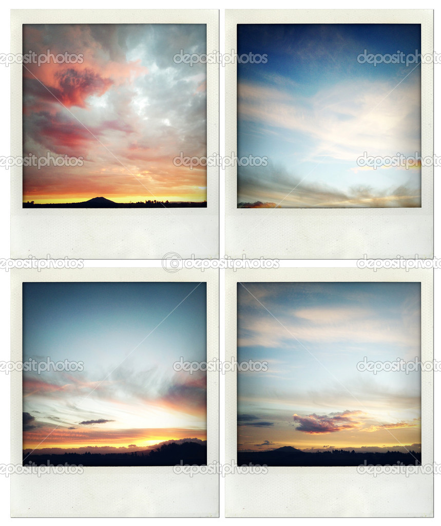 Four photos of clouds in sky