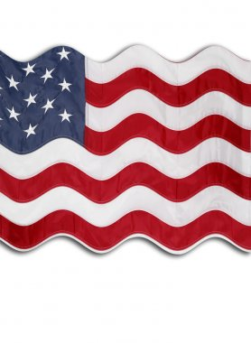 Closeup of rippled American flag in front of white background stock vector