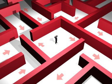 3d man lost in the midle of a red maze