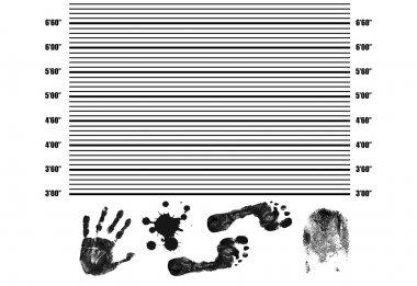 Police Lineup Background with fingerprint, handprint,footprint and splatter
