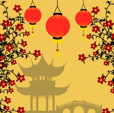 Asian style background, vector illustration