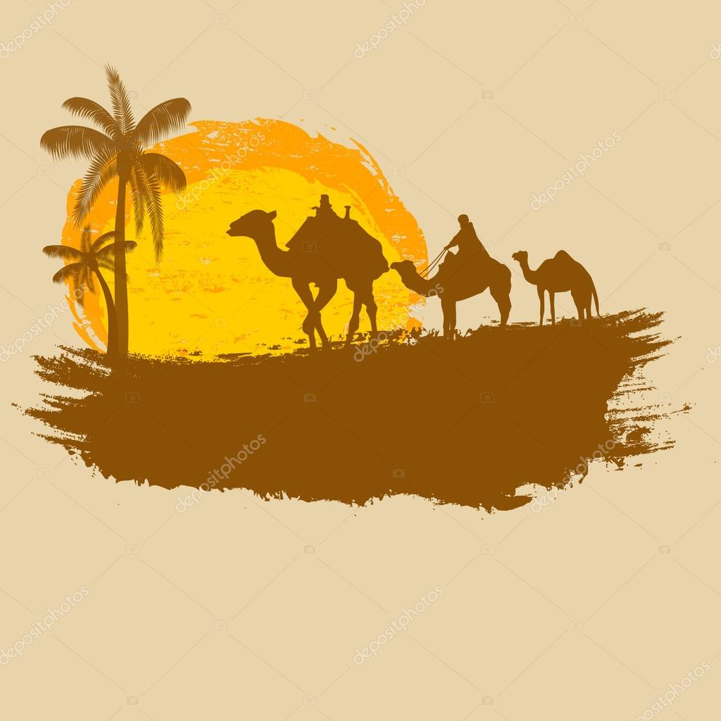 Camel and palms on grunge background