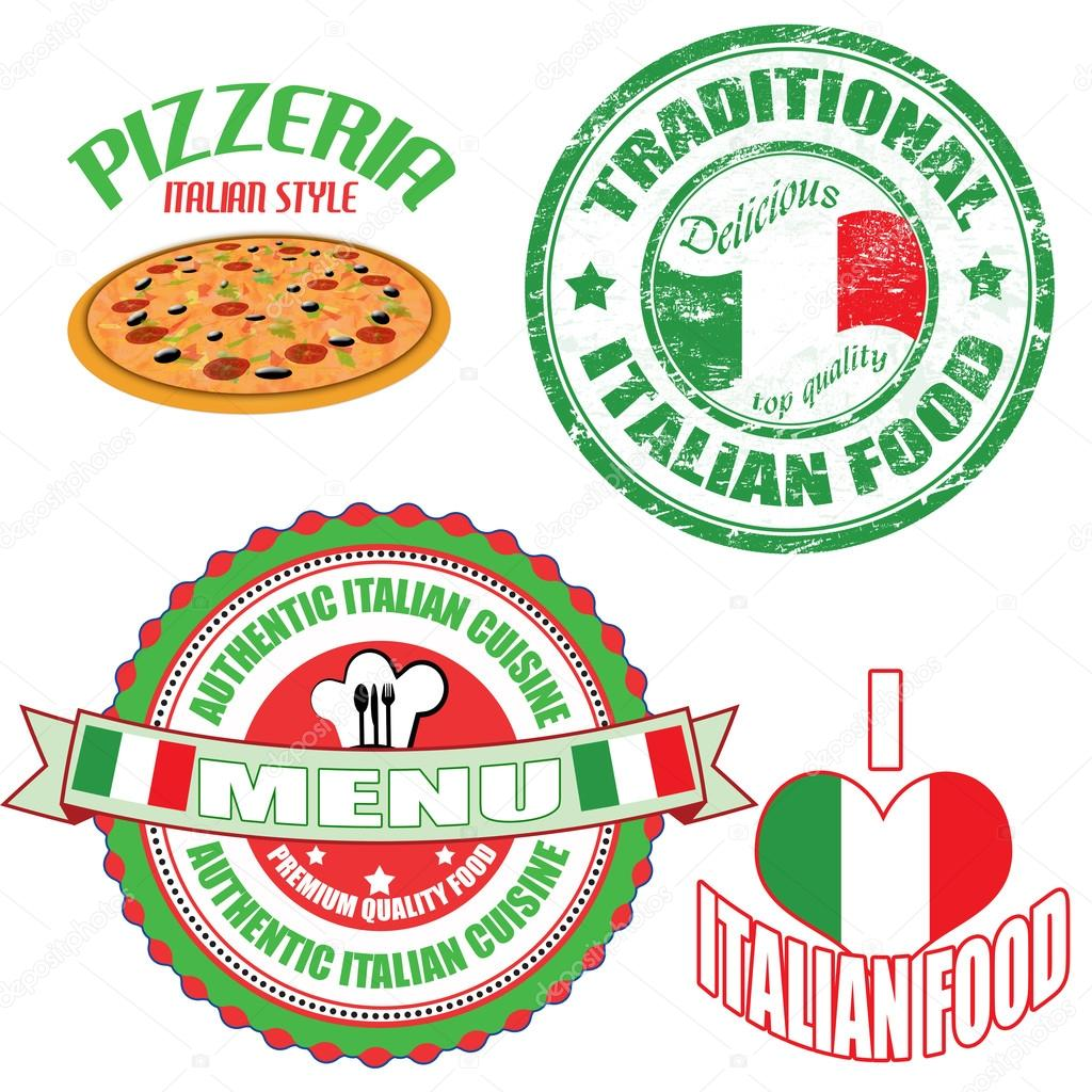 Set of authentic italian food stamp and labels stock for Authentic italian cuisine