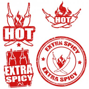 Set of extra spicy chili pepper stamps