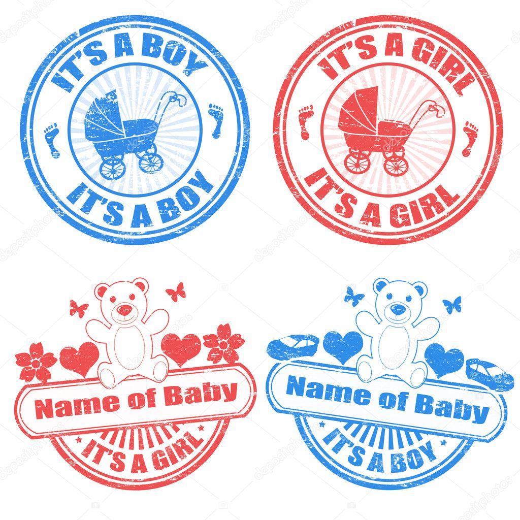 Petit Garcon Et Timbres De Bebe Fille Image Vectorielle