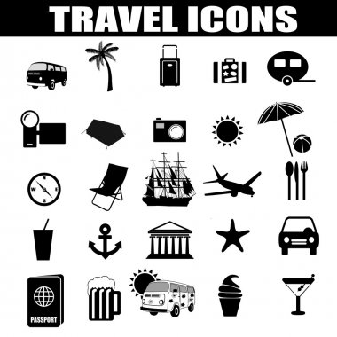 Travel icons set on white background, vector illustration clip art vector