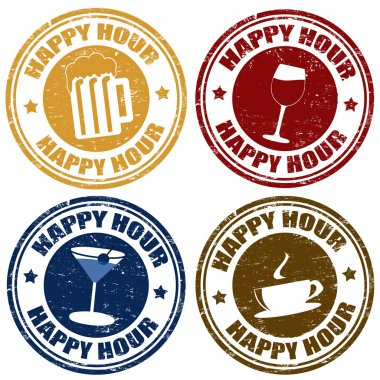 Set of happy hour stamps