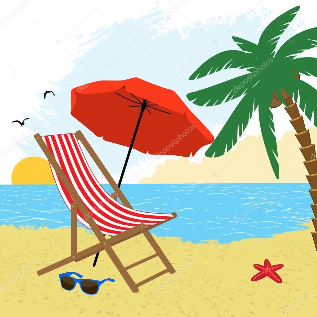 Silla y sombrilla en la playa vector de stock roxanabalint 25278239 - Sombrilla playa ...