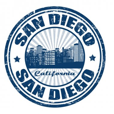 Stamp with San Diego city from California state